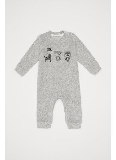 DeFacto Erkek Bebek Baskılı Çıtçıtlı Tulum Gri